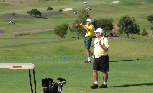 Tony Jones (left) and Ron Hall tee off on the final hole of the NSW Veteran Golfers Association Matchplay Championships at the Shellharbour Links course. More...