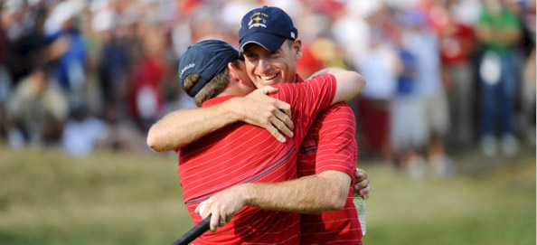 Jim Furyk hugs Justin Leonard after defeating Spain's Miquel Angel Jimenez to secure the Ryder Cup for the US after three successive European victories. CLICK HERE