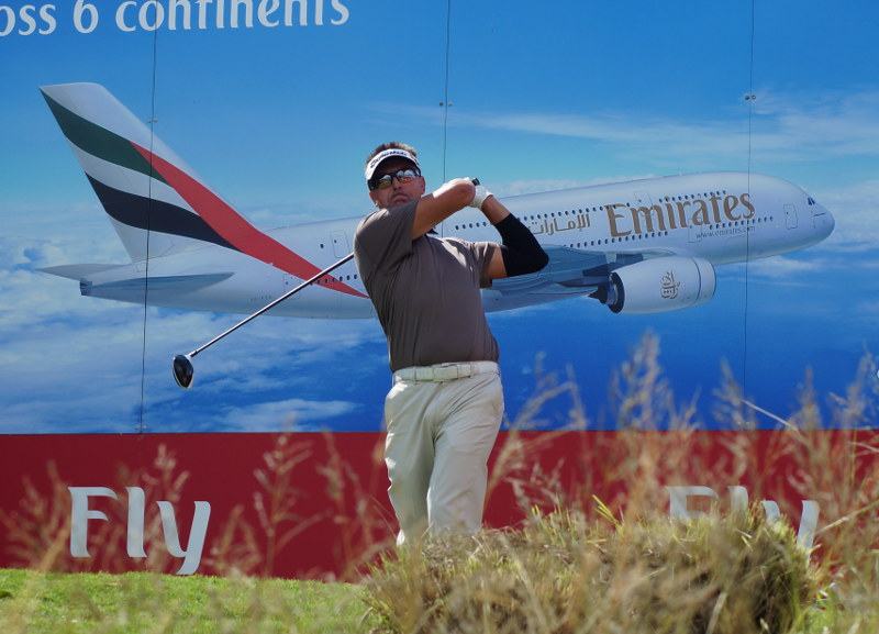 Robert Allenby flies one off the tee at the12th