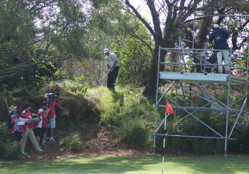 Lee Westwood went bush after flying the 13th green