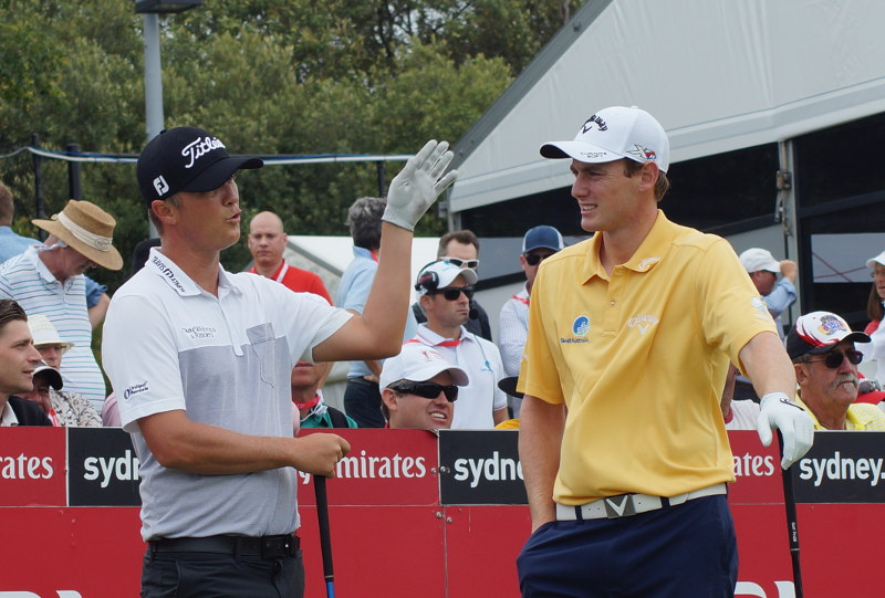 2nd round leader Matt Jones chats with leading challenger Todd Sinnott before they tee off for the 3rd round