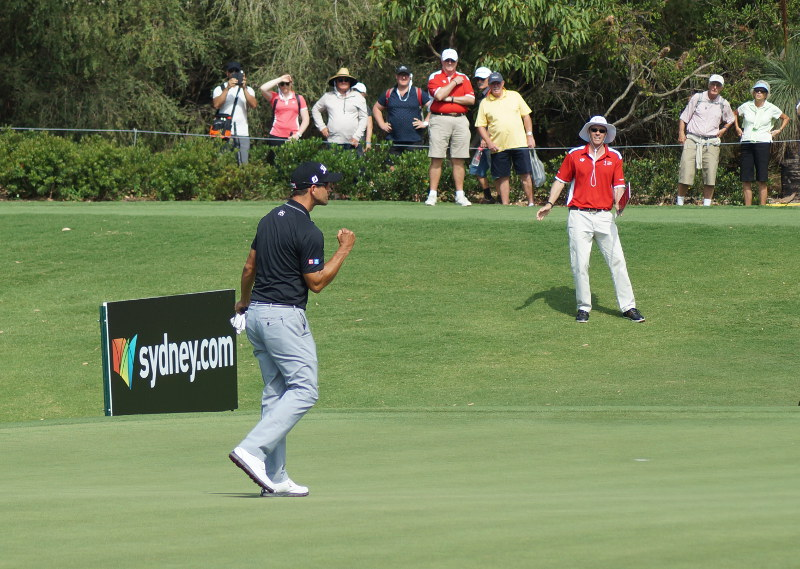 Meanwhile, Adam Scott was pumped after a great par save on the 17th