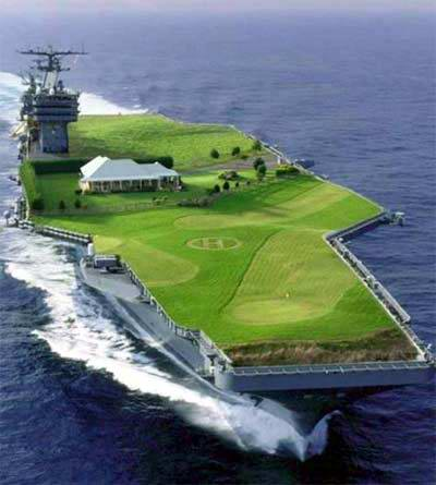 This new golf course design is being considered for  deployment on the Parramatta River in Sydney. Designers are just working on a few glitches with the out of bounds areas.