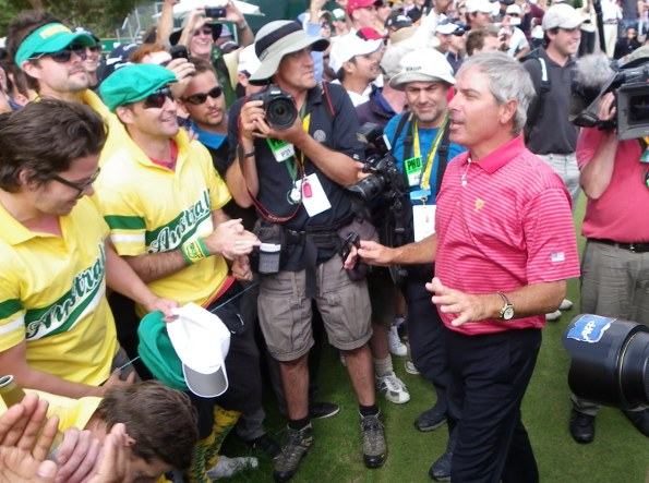 At the Presidents Cup at Royal Melbourne in 2011 US captain Fred Couples revs up some local fans