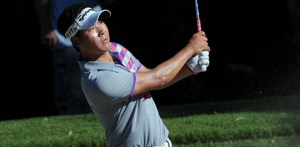VICTORIAN Daniel Popovic and China's Zhang Xinjun share the lead after the second round of the 2012 Australian PGA Championship on Queensland's Sunshine Coast.