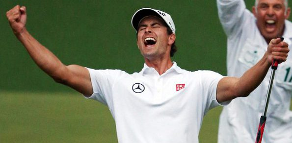 Scott celebrates after his historic 2013 US Masters win. Aussie gof fans will get a chance to congratulate him personally this year at Royal Pines, Royal Melbourne and Royal Sydney.
