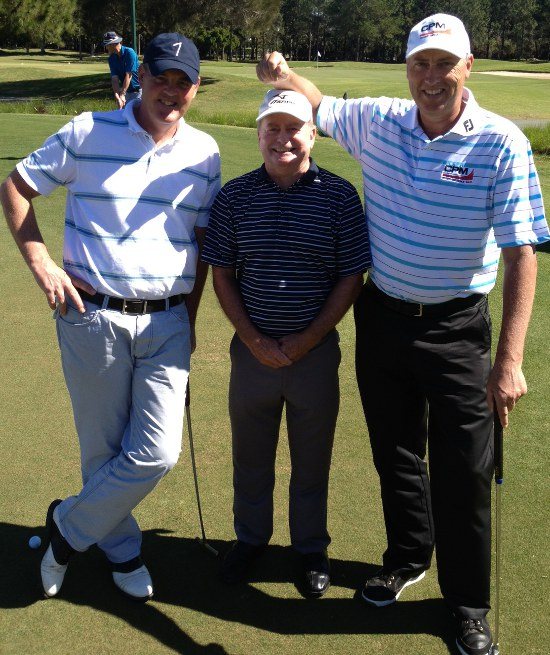Hugh Dolan with fellow Legends Tour players Mike Clayton and Mike Harwood