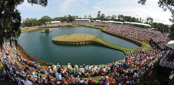The renowned par-three 17th at the TPC Sawgrass in Ponte Vedra Beach, Florida