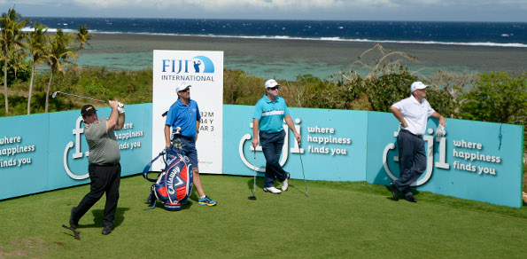 Aussie veteran Craig Parry tees off during a practice round at the Natadola Bay Championship Golf Course in Fiji. Photo: Paul Lakatos/OneAsia.