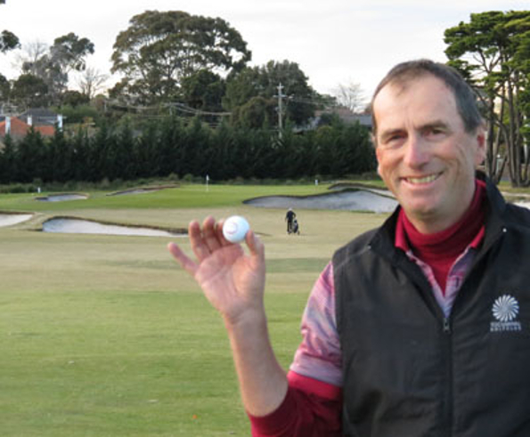 Kerry Boehm celebrates a hole-in-one on the par four first at Victoria Golf Club