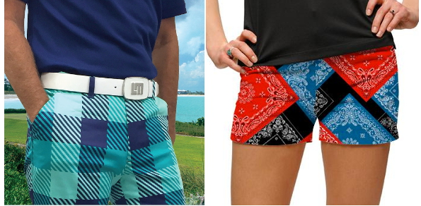 "Loudmouth's men's ""Freeport"" shorts and ""Bandanas"" women's mini-shorts"