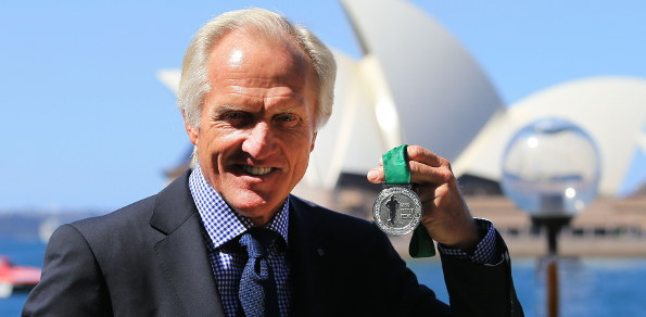 """The Great White Shark"" at the Sydney Opera House launching the new ""Greg Norman Medal"". Photo: PGA of Australia"