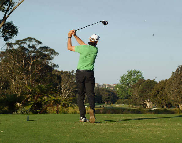 Things were tight as Greg Rhodes teed off on the 17th at Manly Golf Club
