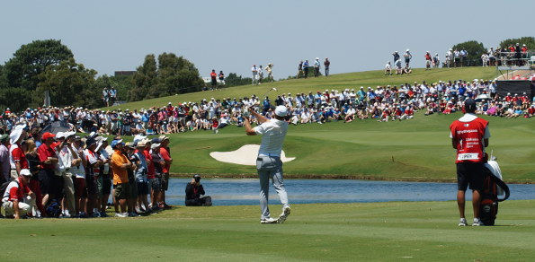 Defending champions Jordan Spieth plays his approach to the 9th hole in the opening round at The Australian Golf Club