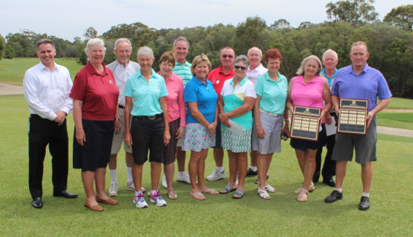 Prize winners from the 2015 Prescare Queensland Senior Order of Merit competition. Josie Ryan and Peter Hannah are the major winners holding their trophies