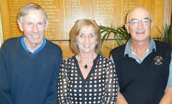 Clive Renner (left) and John Davey with Flagstaff Hill manager Denise Henly