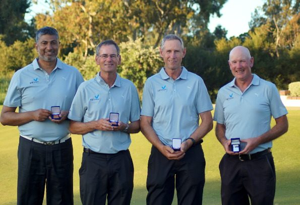 In the state teams event the Victoria team of (l-r)Mark Abeyaratne, Gordon Claney, Greg Rhodes and Ian Frost romped home by 12 shots over New South Wales.