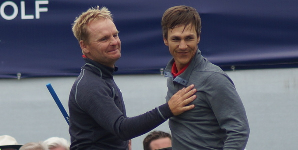 The Danes were overcome with the joy of it all after Olesen birdied  18 to secure their country's  first ever World Cup golf win