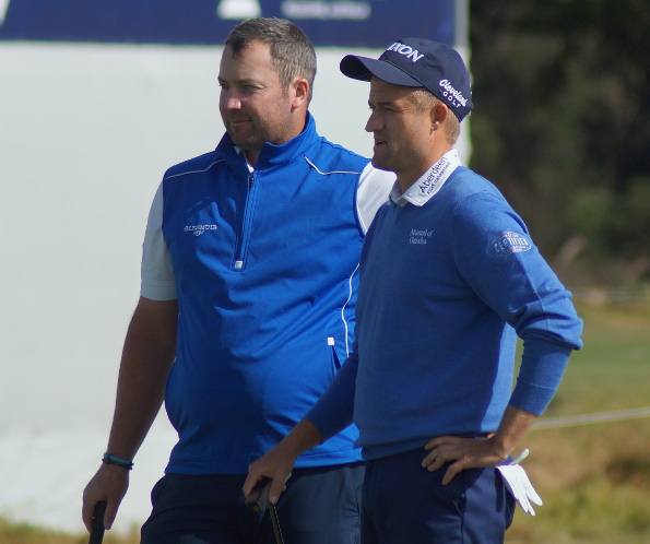 Duncan Stewart and Russell  Knox on the 18th at Kingston Heath. Not too happy with their      opening round foursomes 6-over and no doubt looking forward to the freedom of the fourball on Friday