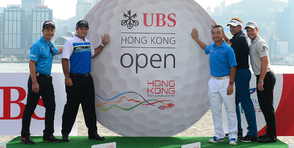 HONG KONG - DECEMBER 06:  (L-R)  Lian Wenchong of China, Patrick Reed of USA, Humphrey Wong of Hong Kong, Ian Poulter of England and Danny Willett of England pictured during the meet the star players press conference ahead of the UBS Hong Kong Open 2016 at The Hong Kong Golf Club on December 6, 2016 in Hong Kong, Hong Kong.  (Photo by Arep Kulal/Getty Images)