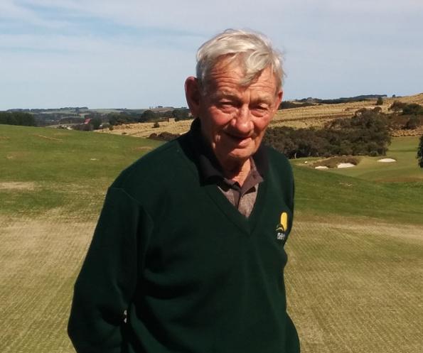Hugh Brubeck on the 18th green at Mt Compass Golf Club