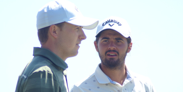 Twenty three year old two time major winner Jordan Spieth and 20 year old amateur Curtis Luck seemed to find lots to chat about during the opening round of the 101st Australian Open