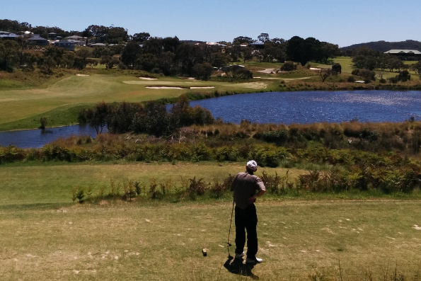 Hugh wasn't sure if he was happy with his tee shot on this great par three at Mt Compass Golf Club