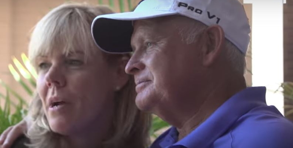 An emotional Peter Senior with wife June at Royal Sydney