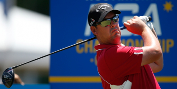 Ashley Hall held the clubhouse lead along with Andrew Dodt at 10-under in the second round of the Australian PGA Championship at Royal Pines on the Gold Coast. Photo: PGA of Australia