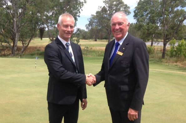 Stuart Fraser, CEO of Golf NSW and Michael Coffey, President of the Liverpool Catholic Club