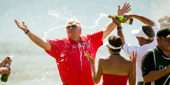 John Daly showered in champagne after his maiden Champions Tour win