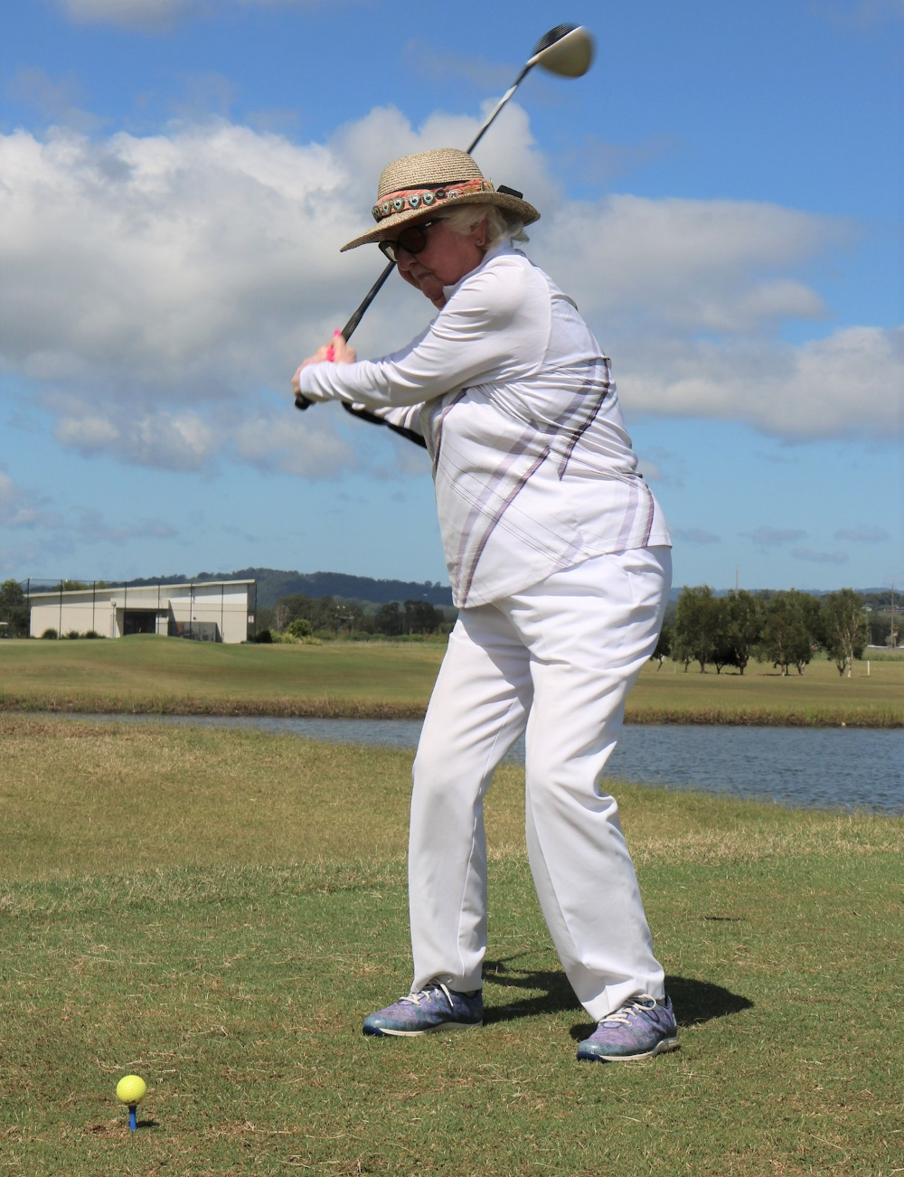Mary Hadden teeing it up on her 100th